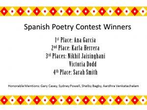 Spanish Poetry Contest Winners