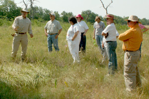 Peter Schulze teaching volunteers at Sneed Prairie Reserve and Research Center.