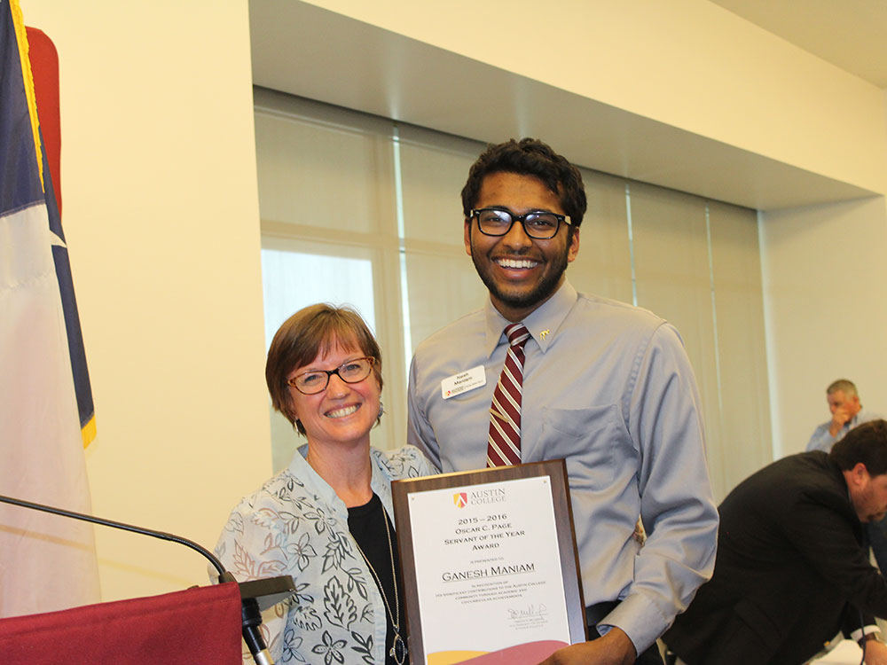 Nancy Morgan and Ganesh Maniam - Servant of the Year
