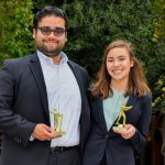 Nico Rodriguez '19 Top 5 Attorney (left), Anna Long '21 Top 5 Witness (right) from the Baylor Mock Trial Tournament on Nov. 10-12.