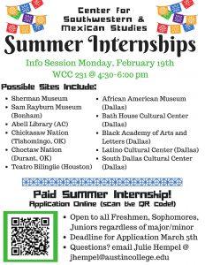 Summer Internships Flyer