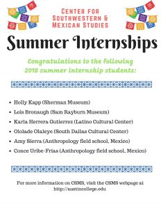 CSMS Summer Internships 2018