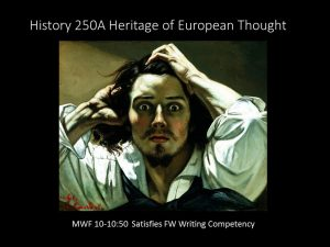 HIST 250A: Heritage of European Thought