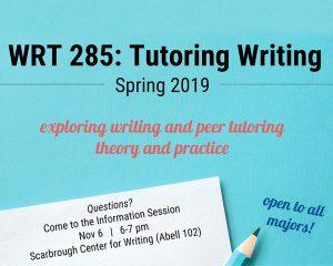 WRT 285: Tutoring Writing