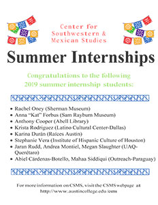 CSMS Summer Internships 2019