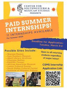 CSMS Summer Internships 2020