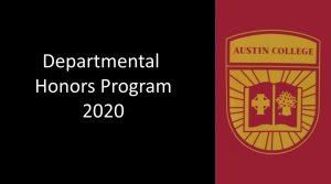 Departmental Honors 2020