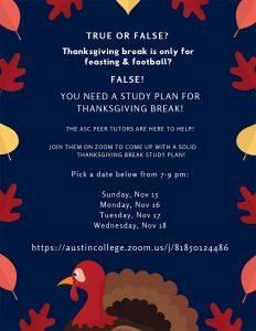 Thanksgiving Break Study Plan